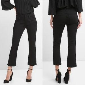 GAP Crop Flare High Rise Jeans in Everblack